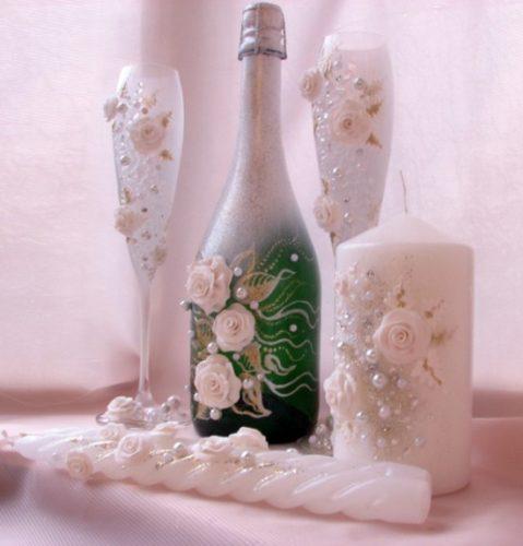 украшаем бутылки к свадьбе, фото