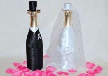 Бутылки шампанского Жених и Невеста и дизайнерские фужеры своими руками
