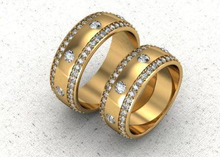 Обручальные кольца с бриллиантами, фото