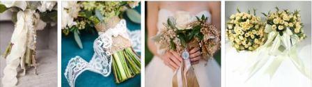 Ленты на букете невесты