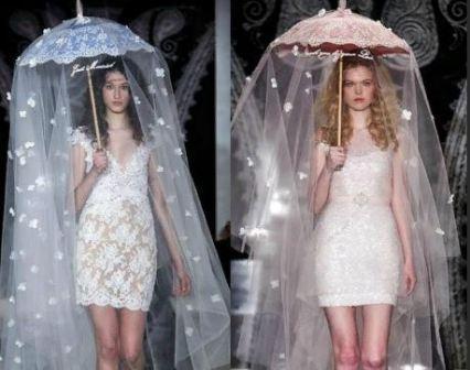 Свадебный зонт с фатой