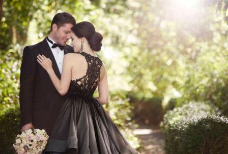 Черное свадебное платье, фото
