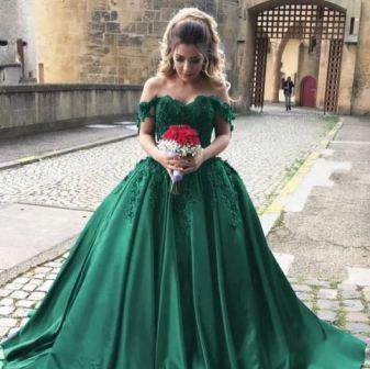 Зеленое свадебное платье, фото