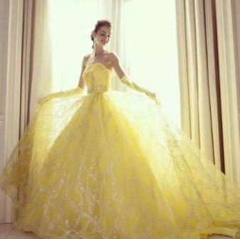 Желтое свадебное платье, фото