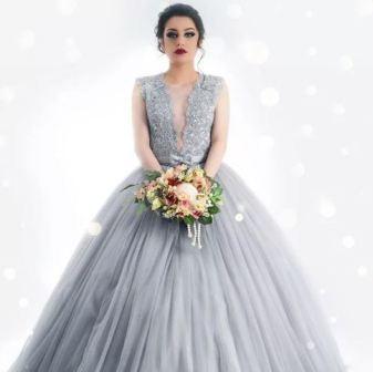 Серое свадебное платье, фото