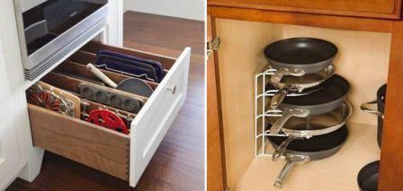 Как организовать хранение сковородок на кухне