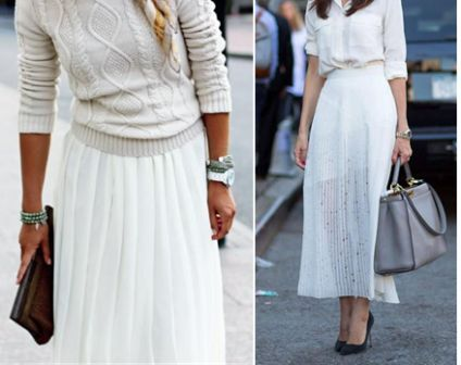 Белая плиссированная юбка