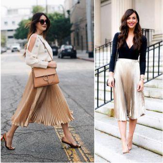 Бежевая юбка плиссе: с чем носить