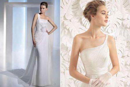 Асимметричный вырез платья