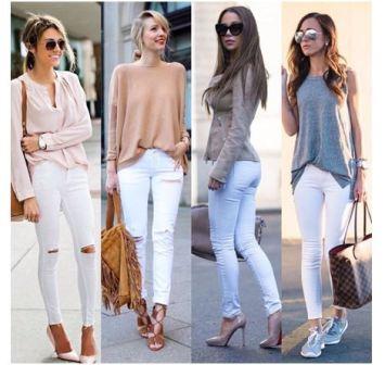 Белые высокие джинсы