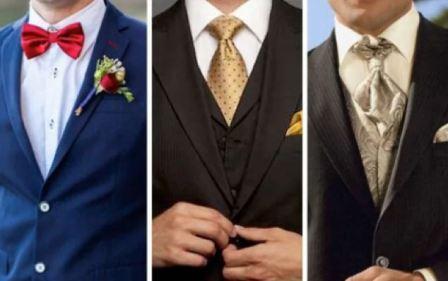 Галстук, бабочка или шейный платок к свадебному костюму жениха?