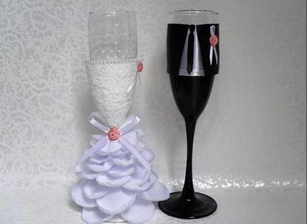 Оригинальные свадебные бокалы: мастер-класс