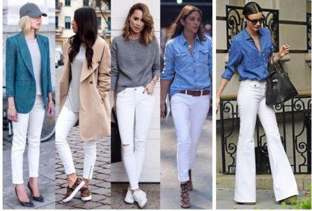 Как носить белые джинсы, с чем сочетать